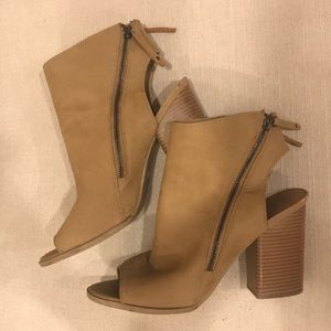 Dolce Vita Tan Zip-up Open Toe Block Heel